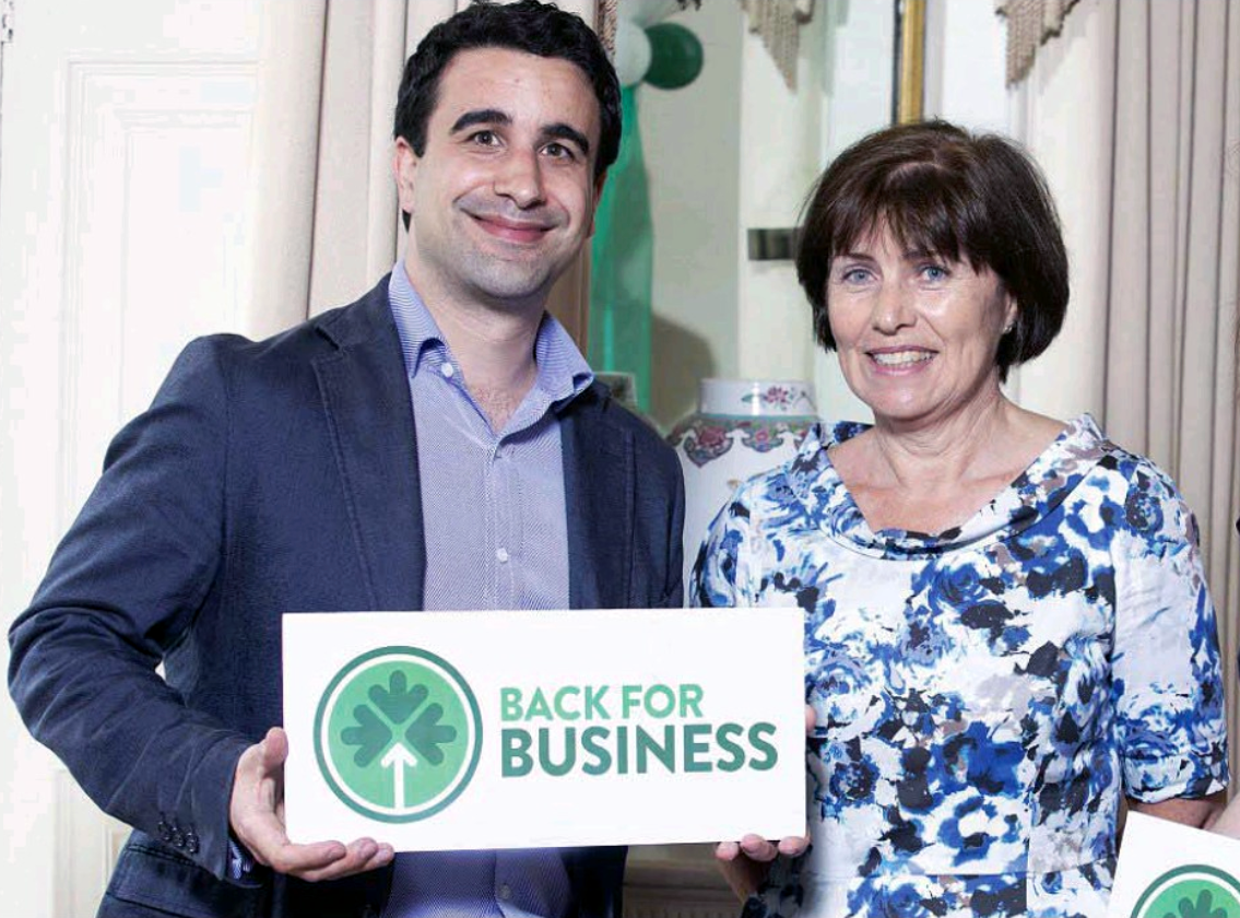 Adam Kennedy-Ripon, Surfstr CEO with Ann Derwin, Assistant Secretary, Irish Department of Foreign Affairs at Iveagh house Dublin